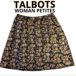 TALBOTS Woman Petites Black skirt gold embroidery